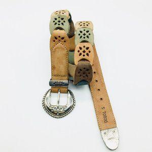 Brighton Leather belt Tan Green Black Neutral SM